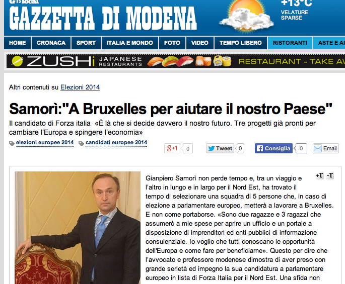"""Samorì alla Gazzetta di Modena: """"A Bruxelles per aiutare il nostro Paese"""""""