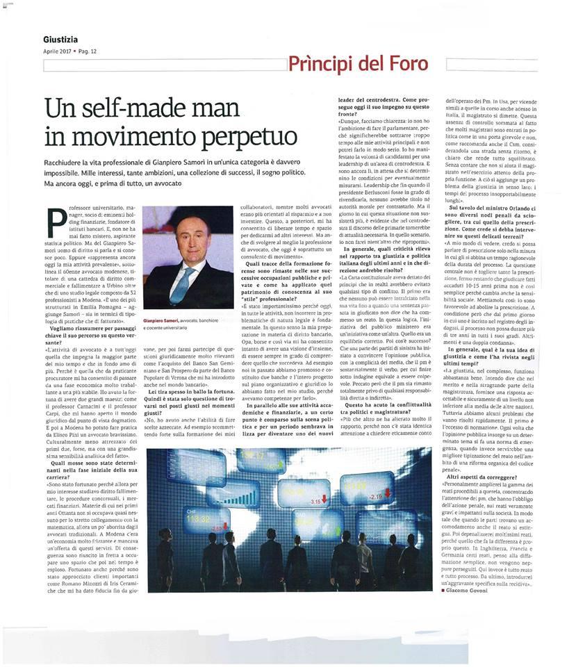 un self made man in movimento perpetuo Articolo gianpiero Samorì