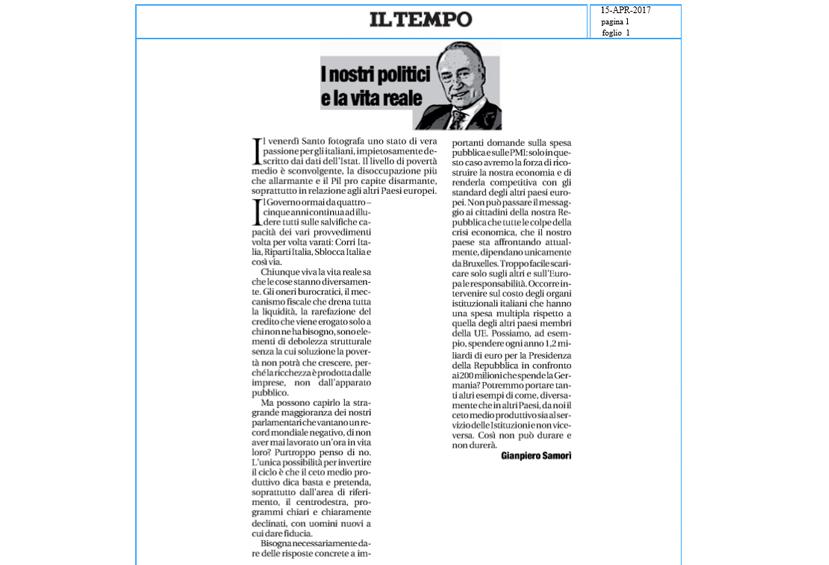 Gianpiero Samorì su Il Tempo aprile 2017