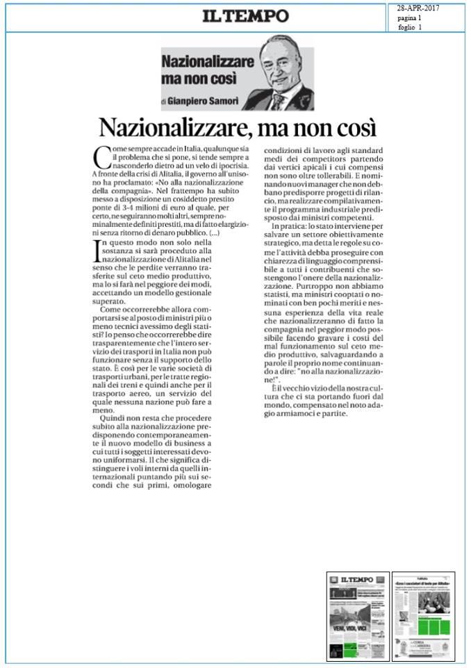 Giampiero Samorì Il Tempo-Alitalia